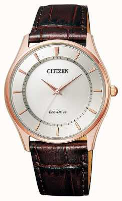 Citizen   mens eco-drive   pulseira de couro marrom   mostrador prateado   BJ6483-01A