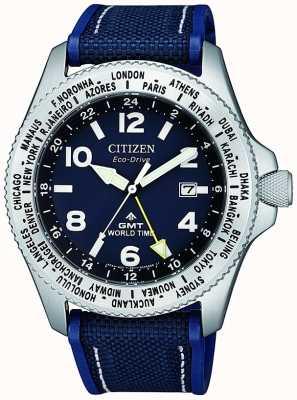 Citizen | mens eco-drive promaster gmt | mostrador azul | cinta azul | BJ7100-15L