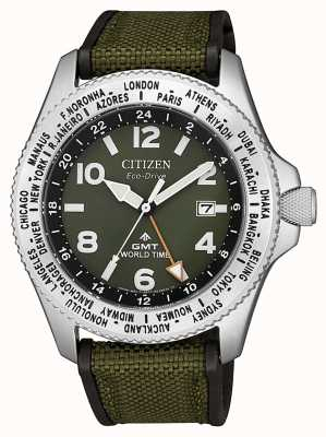 Citizen | mens | ecomaster drive promaster gmt | lona verde | BJ7100-23X