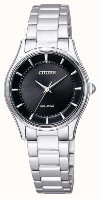Citizen | eco-drive das mulheres | pulseira de aço inoxidável | mostrador preto | EM0401-59E