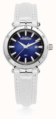 Michel Herbelin | newport das mulheres | pulseira de couro branco | mostrador azul | 14288/AP15BLA