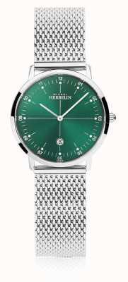 Michel Herbelin | cidade das mulheres | pulseira de malha de prata | mostrador verde | 16915/16B