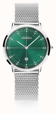 Michel Herbelin | cidade dos homens / mulheres | pulseira de malha de prata | mostrador verde | 19515/16B