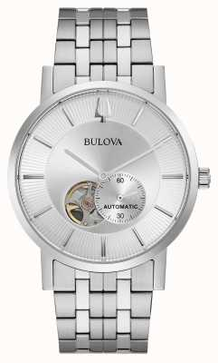 Bulova Mens automático | pulseira de aço inoxidável | mostrador prateado 96A238