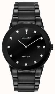 Citizen | axioma dos homens eco-drive | mostrador preto diamantado | pulseira preta AU1065-58G