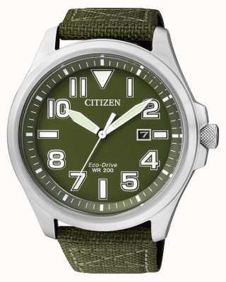 Citizen | mens eco-drive | pulseira de nylon verde | mostrador verde | AW1410-32X