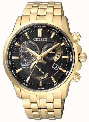 Citizen | calibre eco-drive para homem 8700 | mostrador preto | tom dourado | BL8142-84E