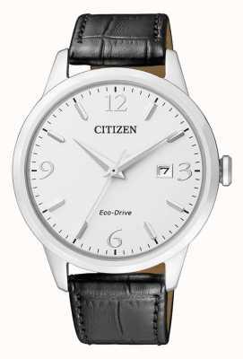 Citizen | mens eco-drive | pulseira de couro preto | mostrador prateado | BM7300-09A