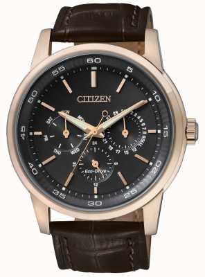 Citizen | mens eco-drive | pulseira de couro marrom | mostrador preto do cronógrafo | BU2013-08E