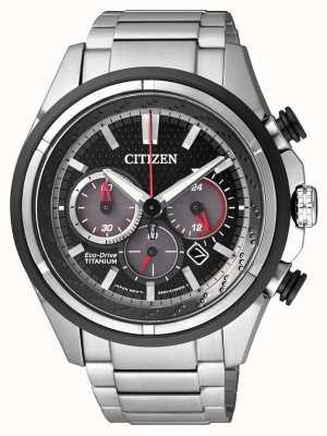 Citizen | mens eco-drive | pulseira de titânio | mostrador preto | CA4241-55E