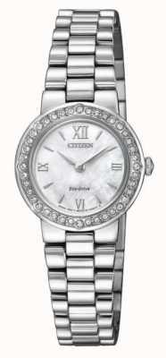 Citizen | eco-drive para mulher | estojo de cristal | pulseira de prata | EW9820-89D