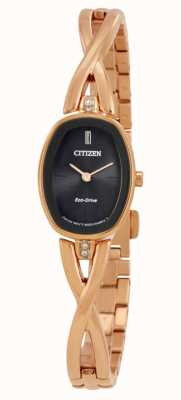 Citizen | silhueta feminina eco-drive | pulseira de tom de ouro | EX1413-55E