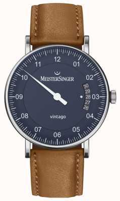 MeisterSinger | mens vintago | automático | couro marrom | mostrador azul VT908