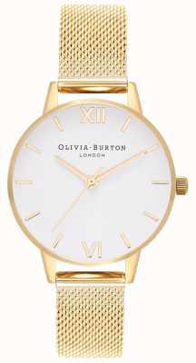 Olivia Burton | mulheres | mostrador branco | pulseira de malha de ouro | OB16MDW35