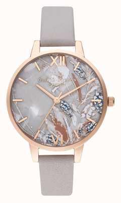 Olivia Burton | mulheres | flores abstratas | pulseira de couro lilás cinza | OB16VM37
