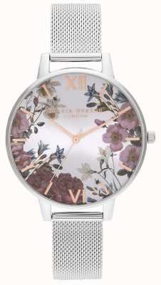 Olivia Burton | mulheres | flores britânicas | pulseira de malha de aço inoxidável | OB16EG133