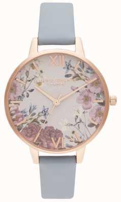 Olivia Burton | mulheres | flores britânicas | pulseira de couro azul giz | OB16EG132