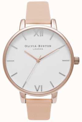 Olivia Burton | mulheres | grande mostrador branco | pulseira de couro de pêssego nu | OB16BDW21