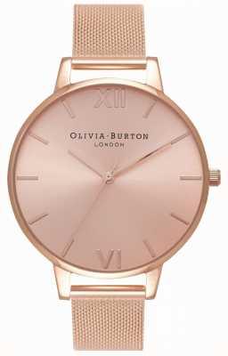 Olivia Burton | mulheres | grande discagem sunray | pulseira de malha de ouro rosa | OB16BD102