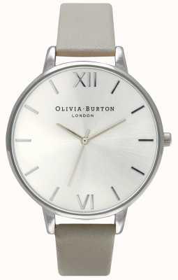 Olivia Burton | mulheres | mostrador prateado | pulseira de couro cinza | OB15BD57