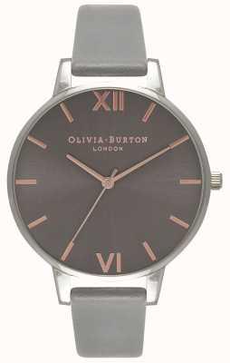 Olivia Burton   mulheres   grande mostrador cinza   pulseira de couro cinza   OB16BD90