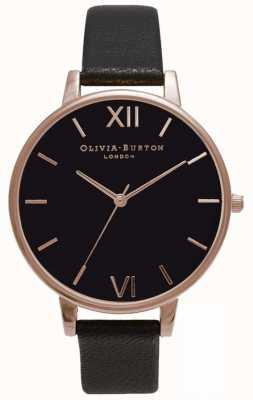 Olivia Burton | mulheres | mostrador preto | pulseira de couro preto | OB15BD66