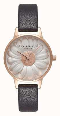 Olivia Burton | mulheres | Mostrador da margarida 3d | pulseira de couro preto | OB16FS97