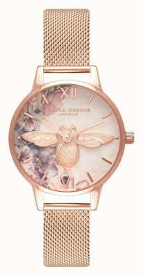 Olivia Burton | mulheres | abelha flores em aquarela | malha de ouro rosa | OB16PP40