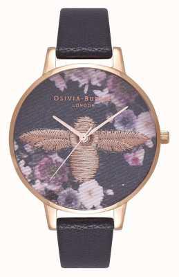 Olivia Burton | mulheres | seletor de abelha 3d bordado | pulseira de couro preto | OB16EM02