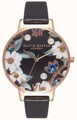 Olivia Burton | mulheres | flores de bejeweled | pulseira de couro preto | OB16BF04