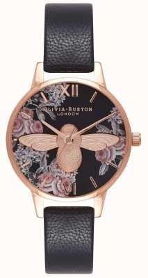 Olivia Burton | mulheres | abelha 3d botânica | pulseira de couro preto | OB16AM100