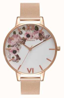 Olivia Burton   mulheres   mostrador floral de assinatura   pulseira de malha de ouro rosa   OB16WG18