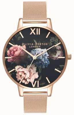 Olivia Burton | mulheres | mostrador de buquê escuro | pulseira de malha de ouro rosa | OB16WG52