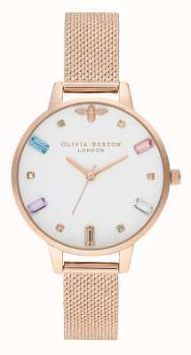 Olivia Burton | mulheres | abelha arco-íris | pulseira de malha de ouro rosa boucle | OB16RB15