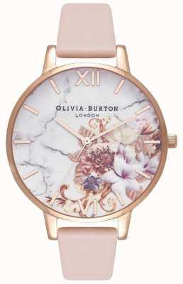 Olivia Burton | mulheres | flores de mármore | pulseira de couro de pêssego nu | OB16CS12