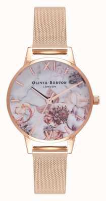 Olivia Burton | mulheres | flores de mármore | pulseira de malha de ouro rosa | OB16CS06