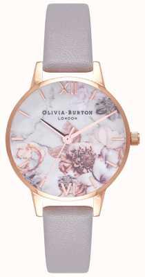 Olivia Burton | mulheres | flores de mármore | pulseira de couro lilás cinza | OB16CS14