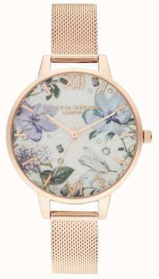 Olivia Burton   mulheres   flores de bejeweled   pulseira de malha de ouro rosa   OB16BF27