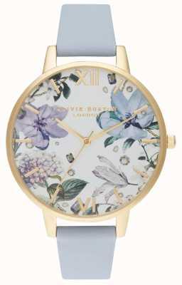 Olivia Burton | mulheres | flores de bejeweled | pulseira de couro azul giz | OB16BF21