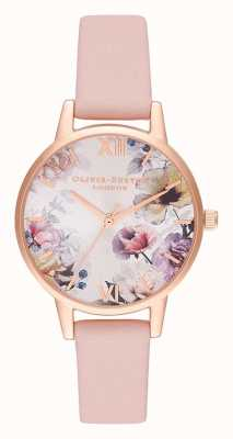 Olivia Burton | mulheres | luz solar florals | pulseira de couro rosa empoeirada | OB16EG115