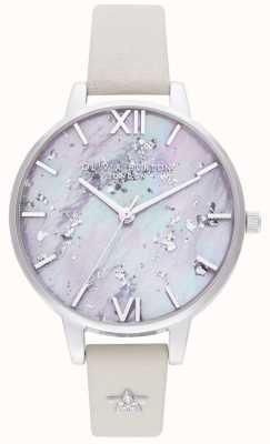 Olivia Burton | mulheres | estrela celestial | pulseira de couro de prata | OB16GD42