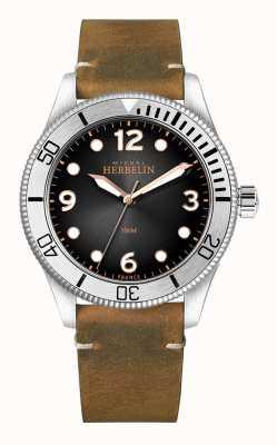 Michel Herbelin | mens | troféu | mostrador preto | pulseira de couro marrom | 12260/T14BR