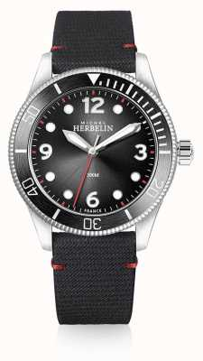 Michel Herbelin | mens | troféu | mostrador preto | pulseira preta | 12260/AN14
