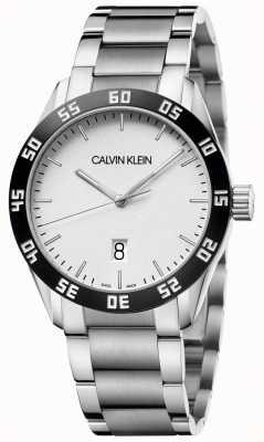 Calvin Klein | competir | mens | pulseira de aço inoxidável | mostrador branco | K9R31C46