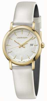 Calvin Klein | pulseira de couro branco das mulheres | mostrador prateado | K9H235L6