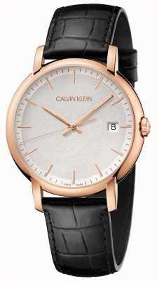 Calvin Klein | mens minimal | pulseira de couro preto | mostrador branco | K9H216C6