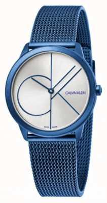 Calvin Klein Mínimo | pulseira de malha azul | mostrador prateado | K3M52T56