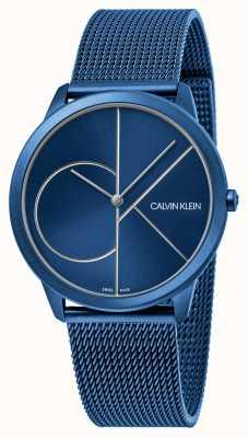 Calvin Klein Mínimo | pulseira de malha azul | mostrador azul | K3M51T5N