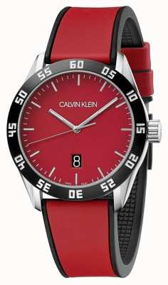 Calvin Klein | mens completa pulseira de borracha vermelha | mostrador vermelho | K9R31CUP