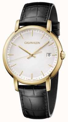 Calvin Klein | mens minimal | pulseira de couro preto | mostrador branco | K9H215C6